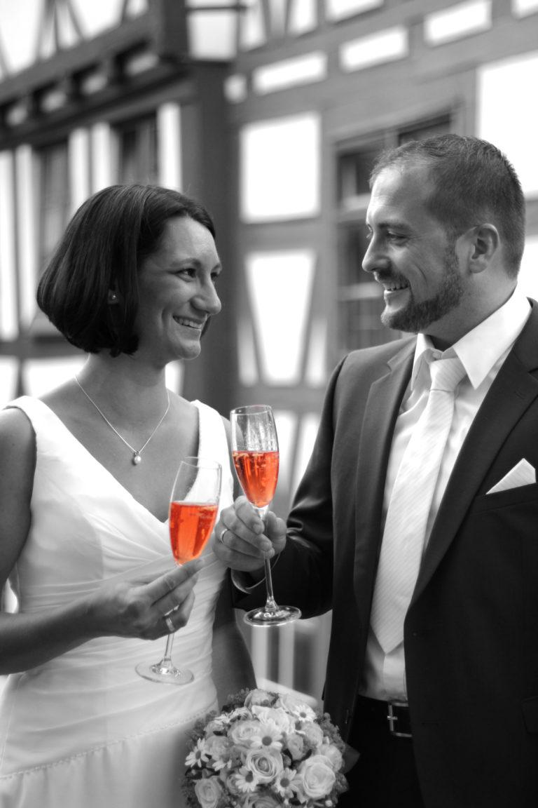 Hochzeitsfotografie Sektempfang colorkey