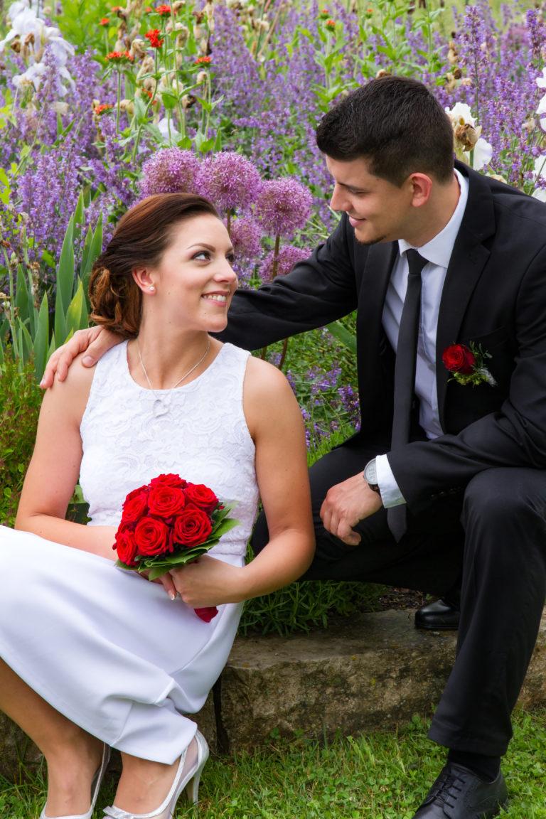 Hochzeitsfotografie Brautpaar innig